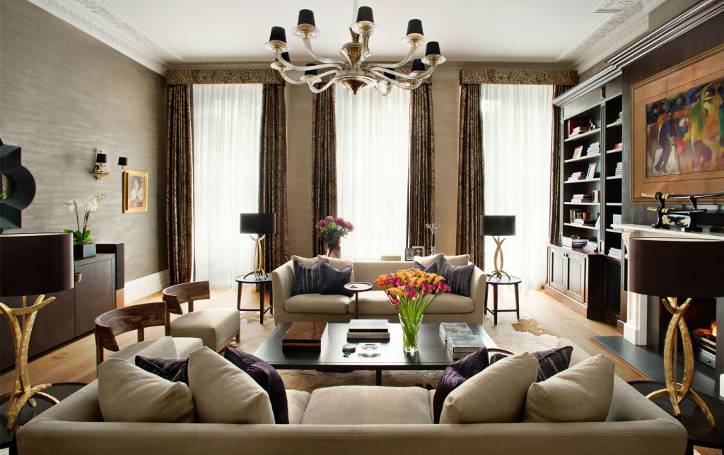 interior image of the kensington mansion flat with designer window treatments and designer interior decor surrounding two beautiful couches