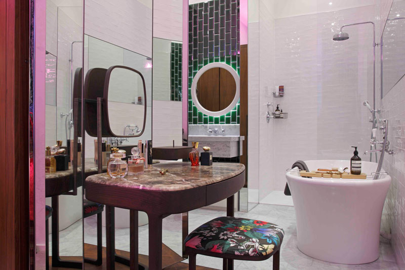 Pink shower bathroom design