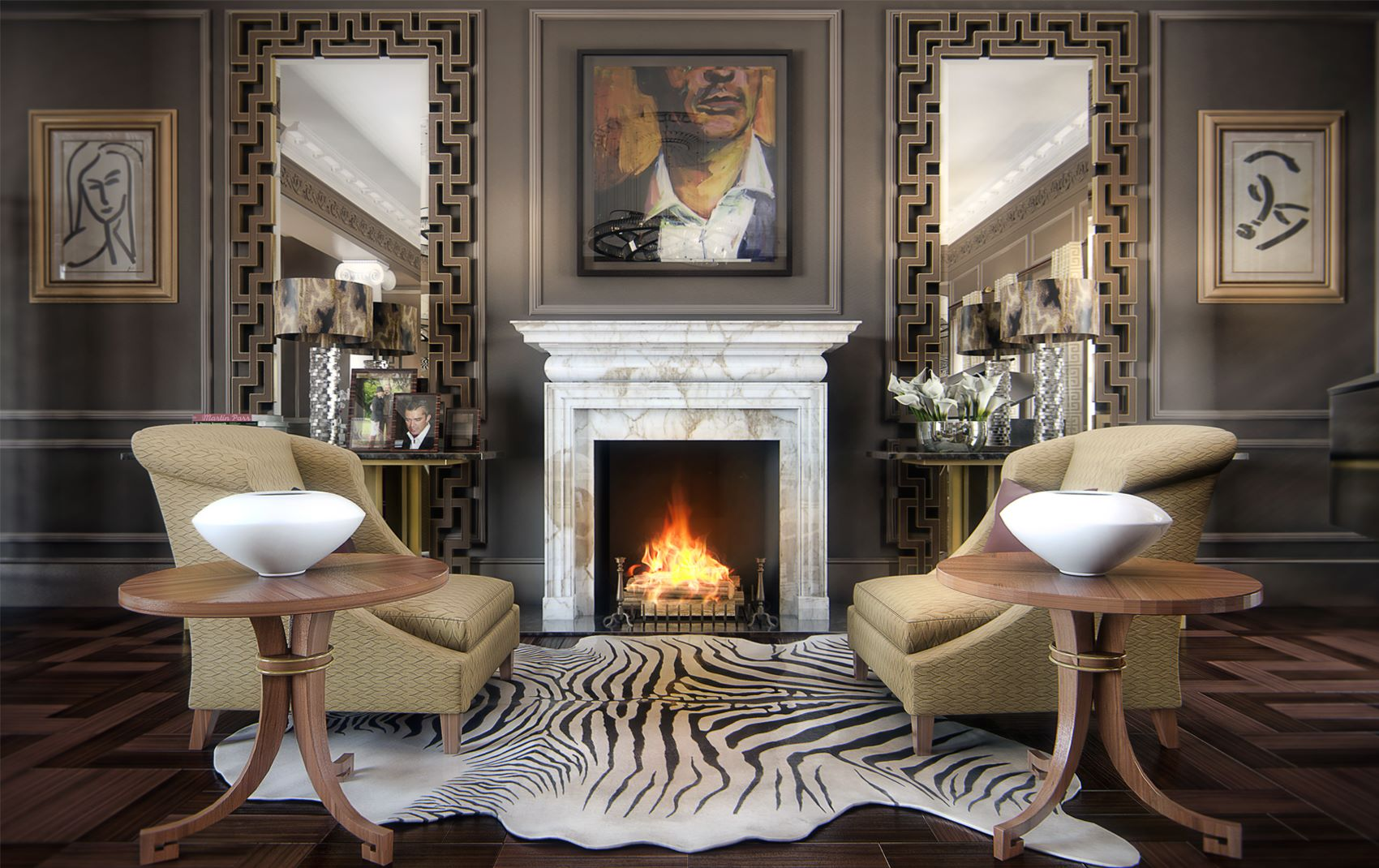 High end fireplace design