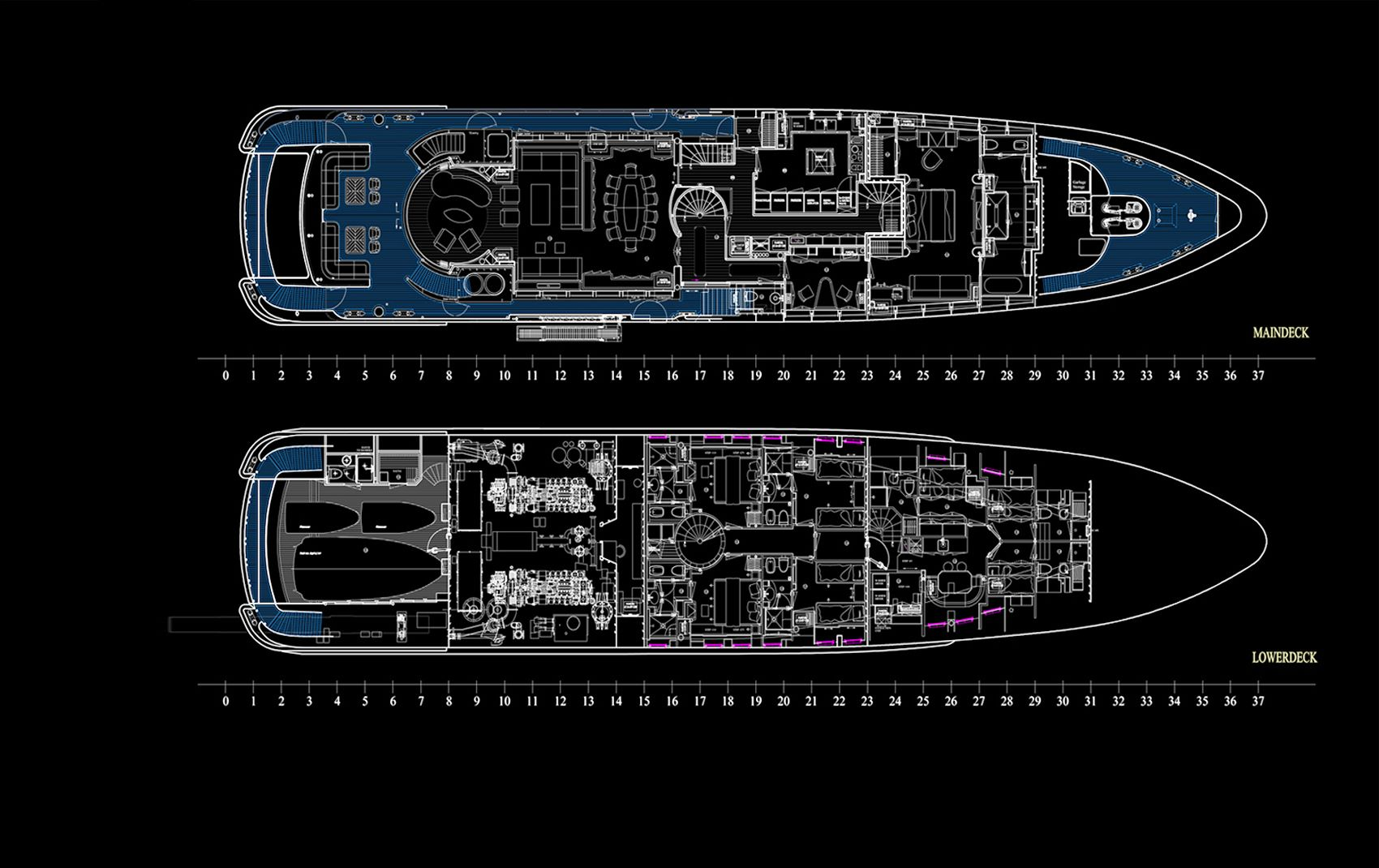 luxury yacht interior design blueprints