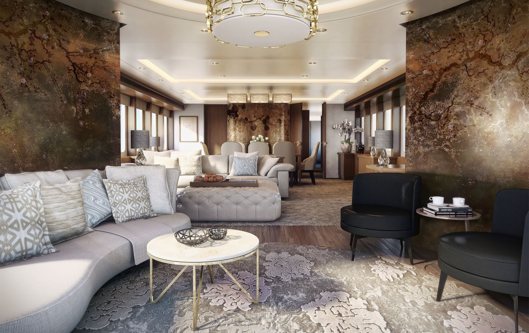 luxury london interior in a yacht