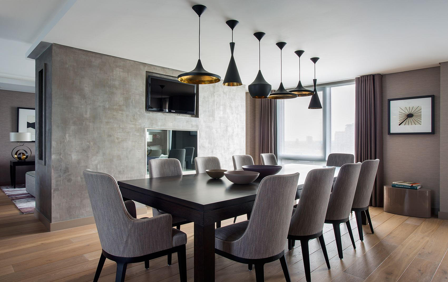 west london penthouse - large dining room table seating 10