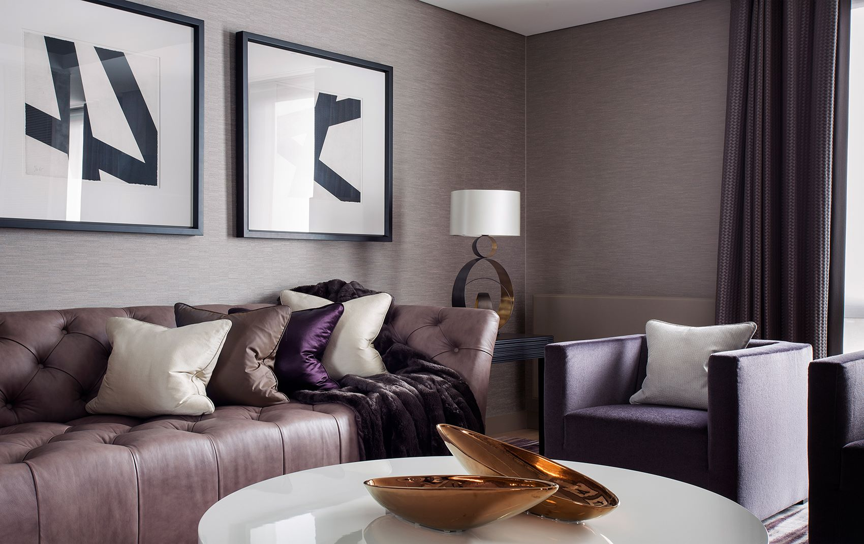 west london penthouse - purple living room accents