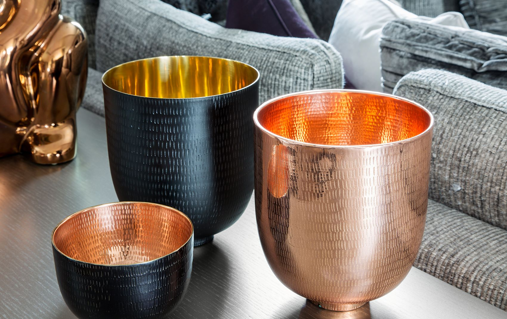 bronze brass and copper decorative goblets