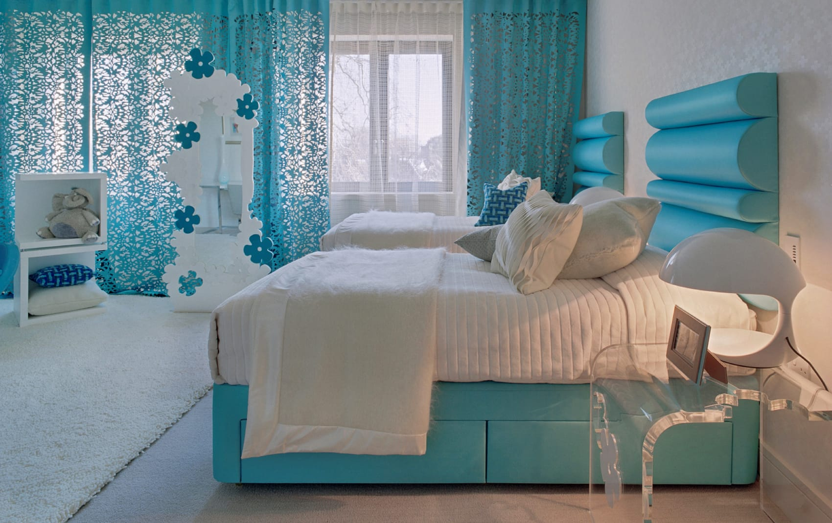 luxury blue design bedroom twin